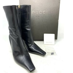 100% Auth GUCCI  Leather Short Boots G Logo Heels